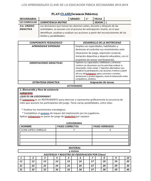 Planeacion Anual Educación Física 1 Secundaria