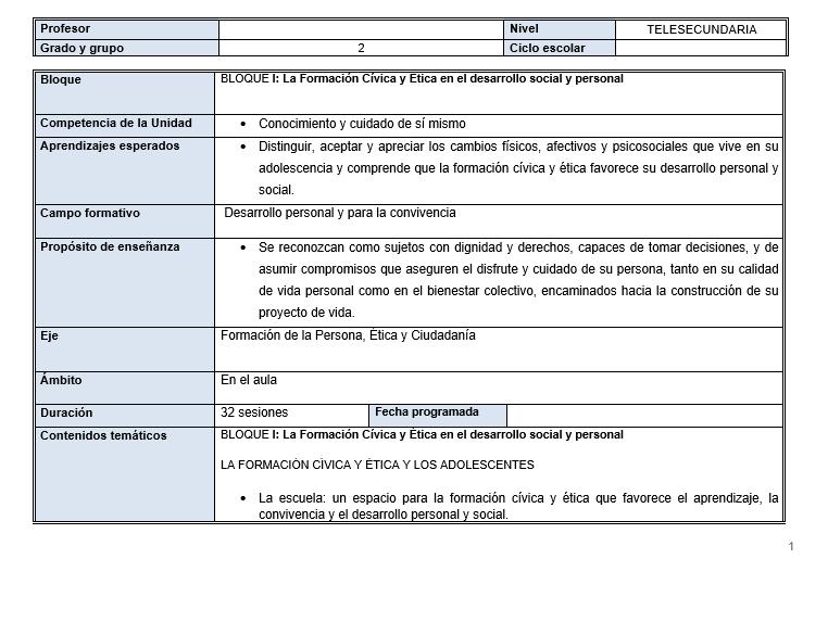 FCyE / Planeaciones de formacion civica y etica telesecundaria