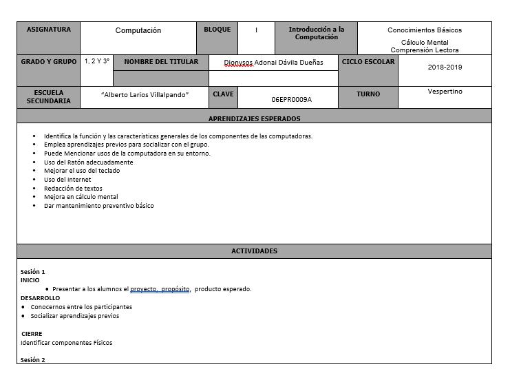 Planeacion Club Computación Agosto - Noviembre
