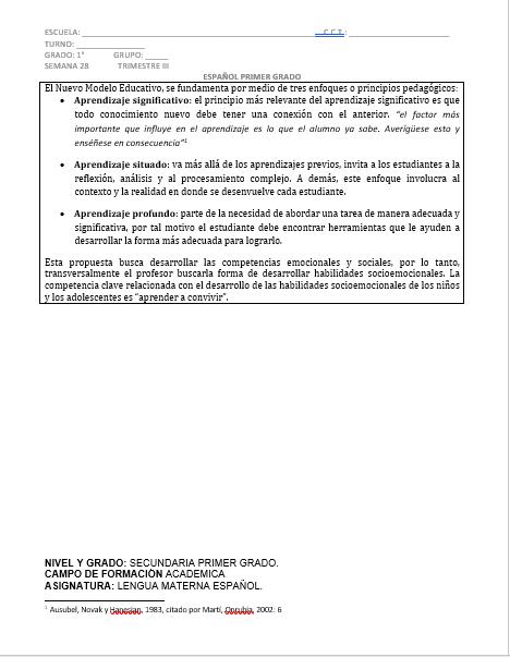 Planeación Español 1er grado 3er trimestre Secundaria Ciclo 2019-2020