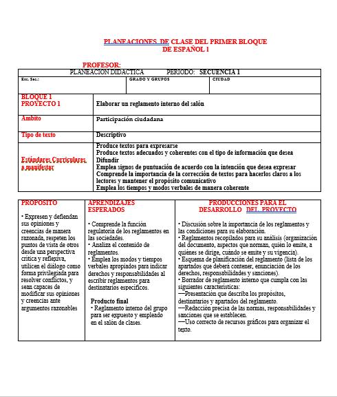 Planeaciones Telesecundaria Primer Grado (Español)