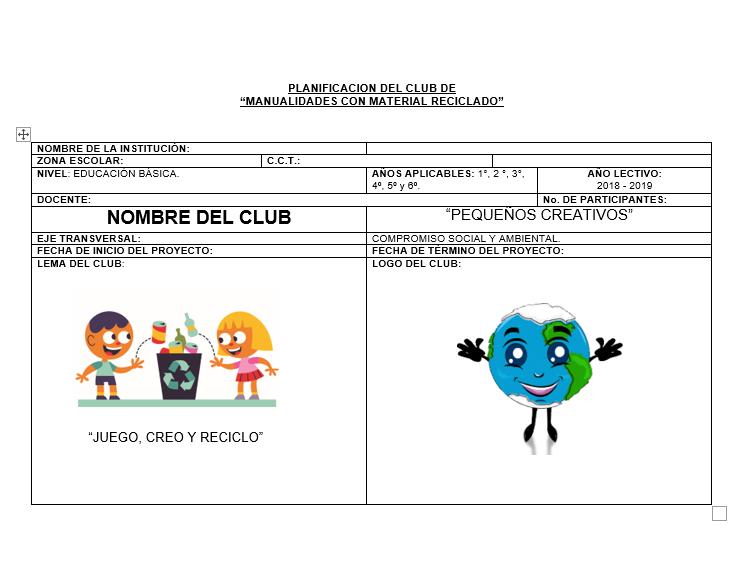 Planeación Primaria Club Manualidades Con Material Reciclado