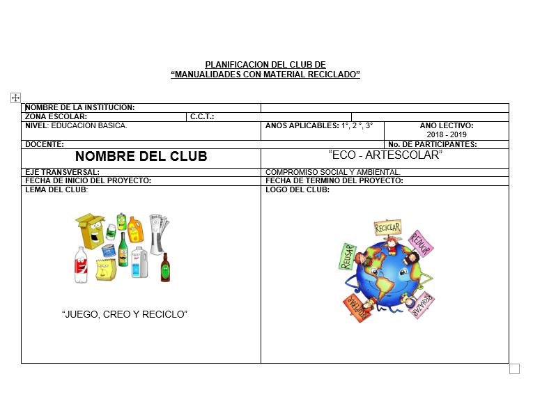Planeaciones trimestral del Club para Secundaria (Agosto – Noviembre): Manualidades con Material reciclado