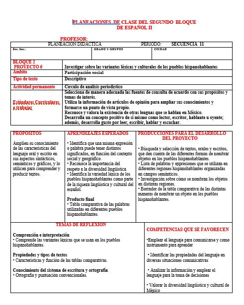 Planeación Segundo Grado Segundo Trimestre Telesecundaria (Español)