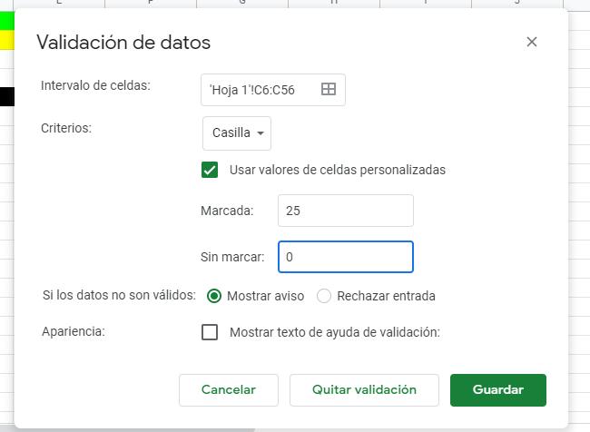 validación de datos en google drive