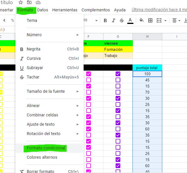 Formato y Formato condicional en google drive