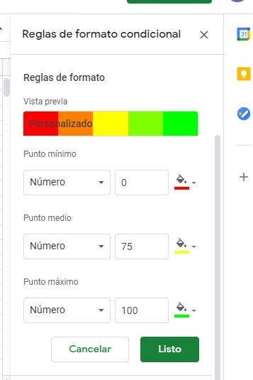 reglas de formato condicional en google drive