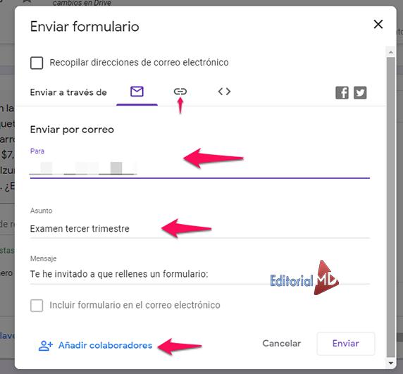 enviar formularios en classroom