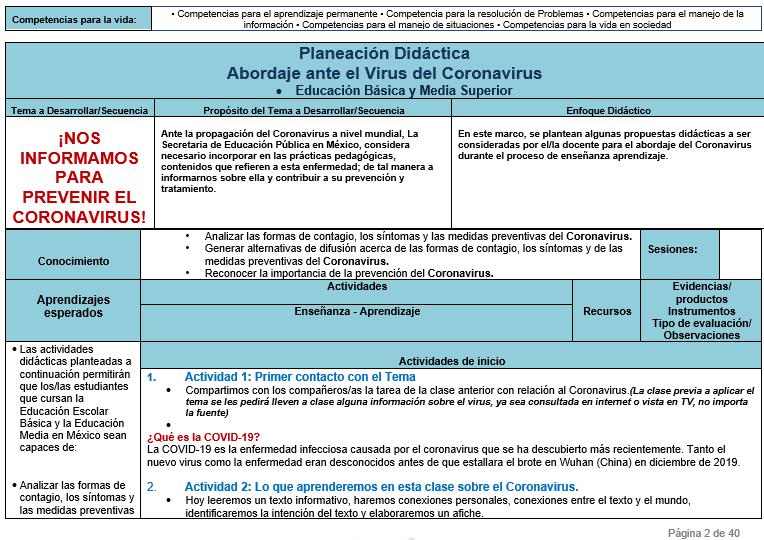 Planeación Didáctica Abordaje ante el COVID – 19 (Coronavirus) 01