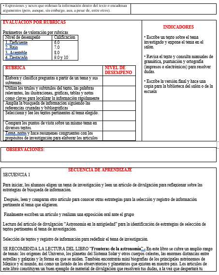 Planeación Telesecundaria Segundo Grado (Español 01)