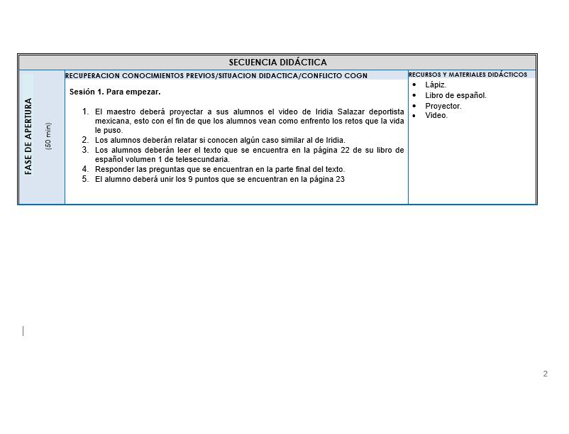 Planeaciones de Español Telesecundaria 01