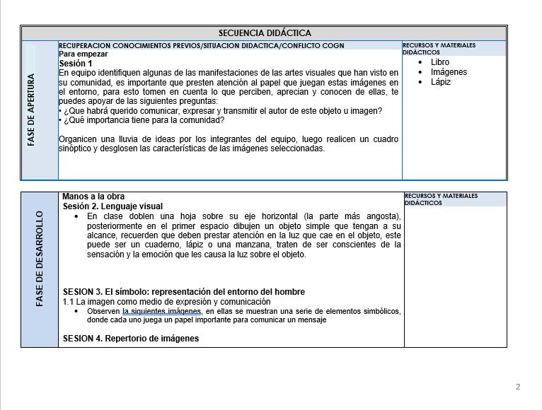 Planeacion de Artes Visuales Telesecundaria 01