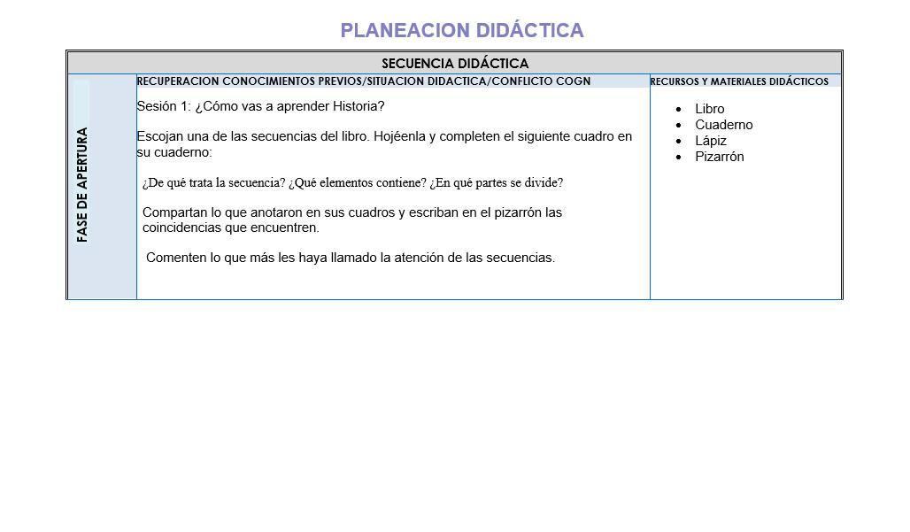 Planeacion de Historia Telesecundaria 01