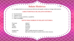 caracteristicas del relato historico