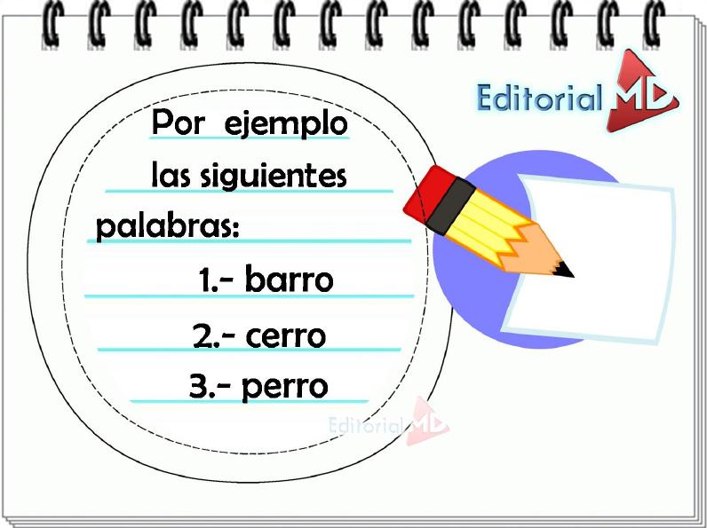 ejemplo de palabras con rr para niños