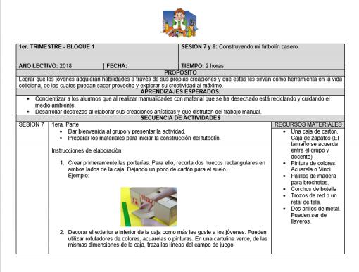 Planeaciones trimestral del Club para Secundaria (Agosto – Noviembre): Manualidades con Material reciclado 02