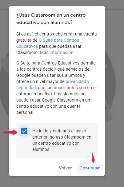 aceptar términos google classroom guia