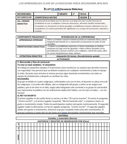 Planeacion de Educación Física (Anual)