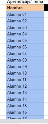 nombres de los alumnos en google drive