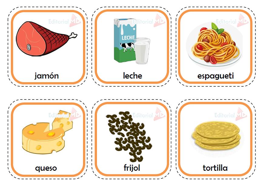 memorama de los alimentos para niños