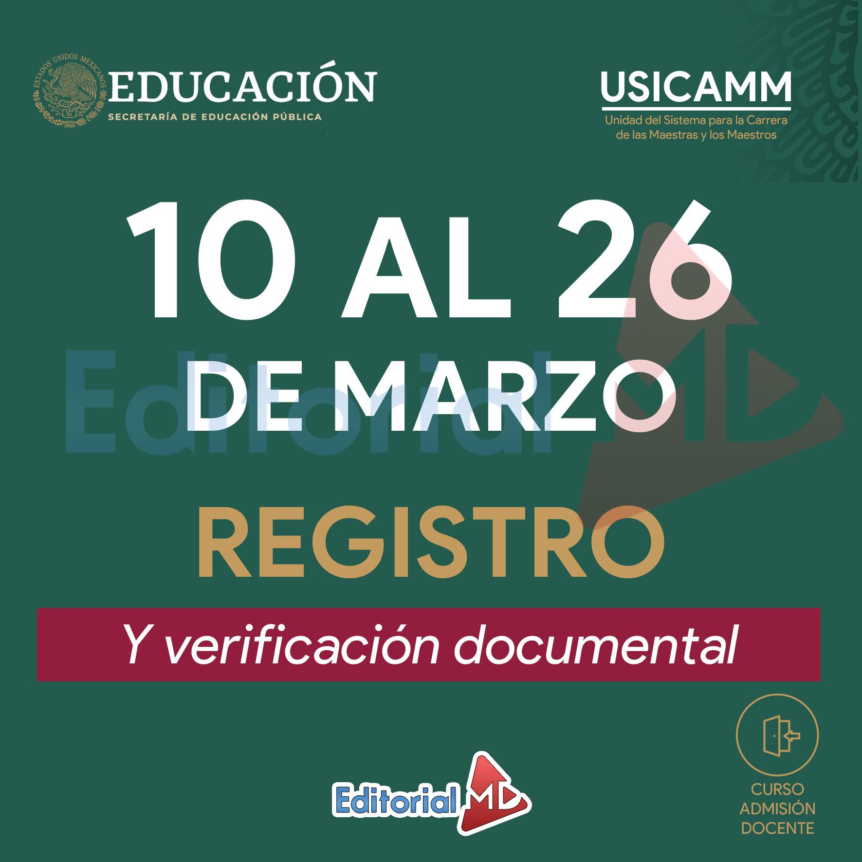 10 al 26 de Marzo (Registro)