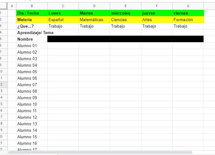 tabla para evaluar a distancia