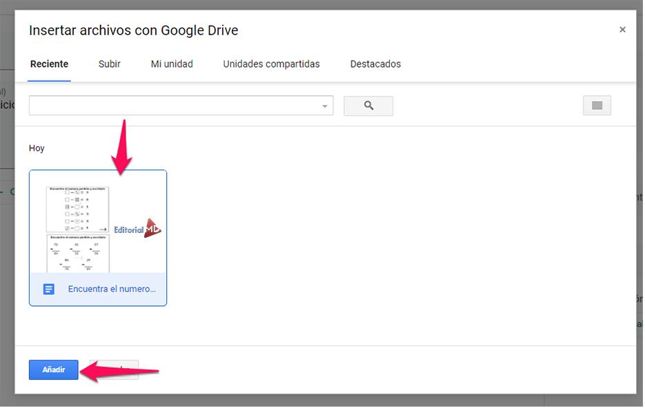 insertar achivos de google drive paso 2