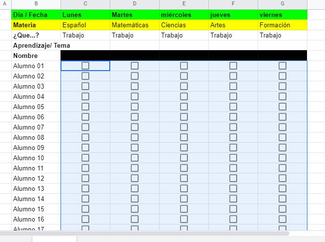 casillas de verificación registro de actividades a distancia