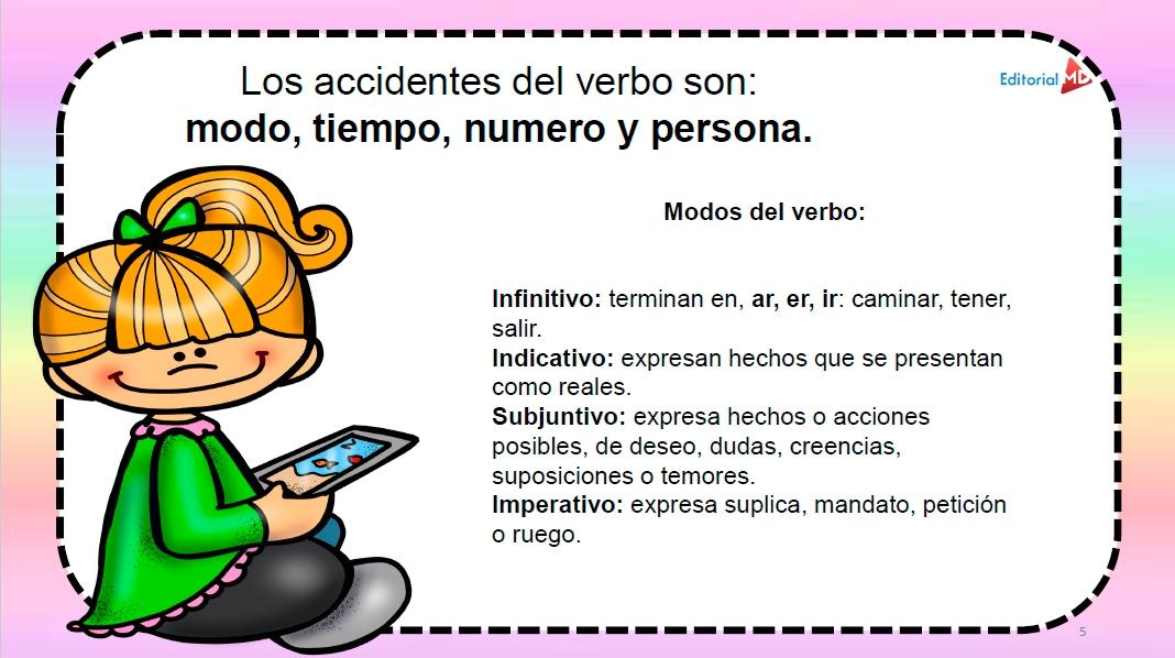 los accidentes del verbo modo tiempo número persona