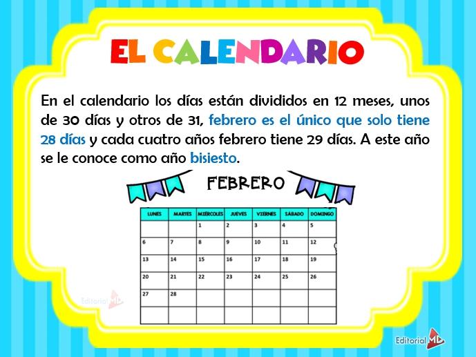 Ejemplo del calendario