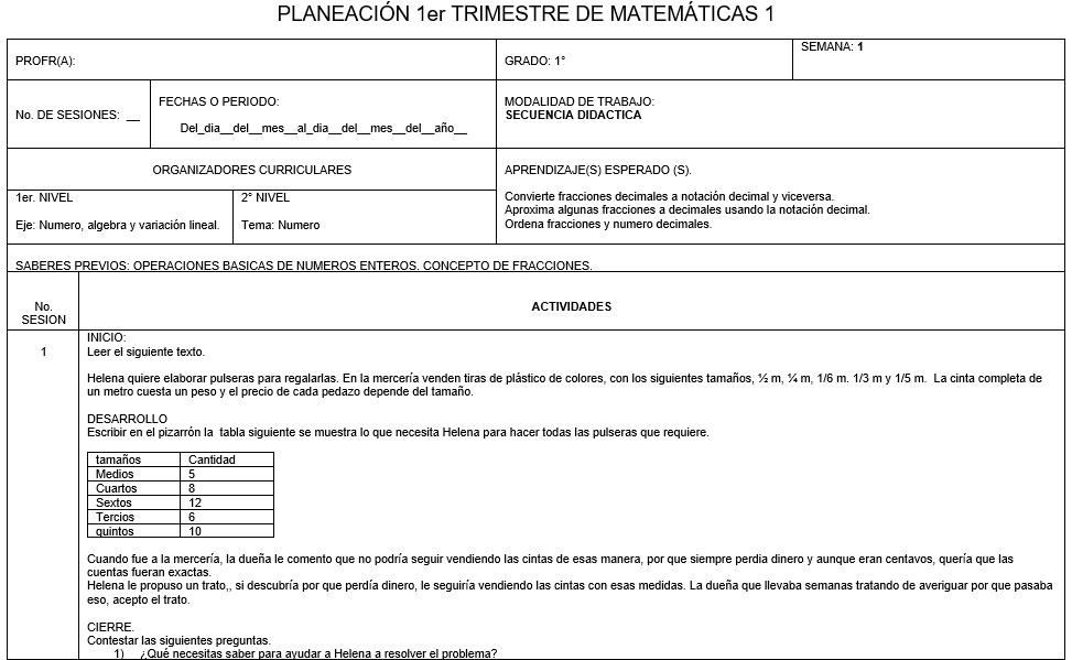 Planeación matemáticas