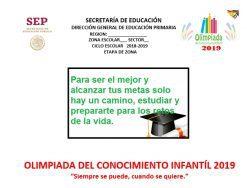 Examen de la Olimpiada del Conocimiento Infantil 2019 Primaria