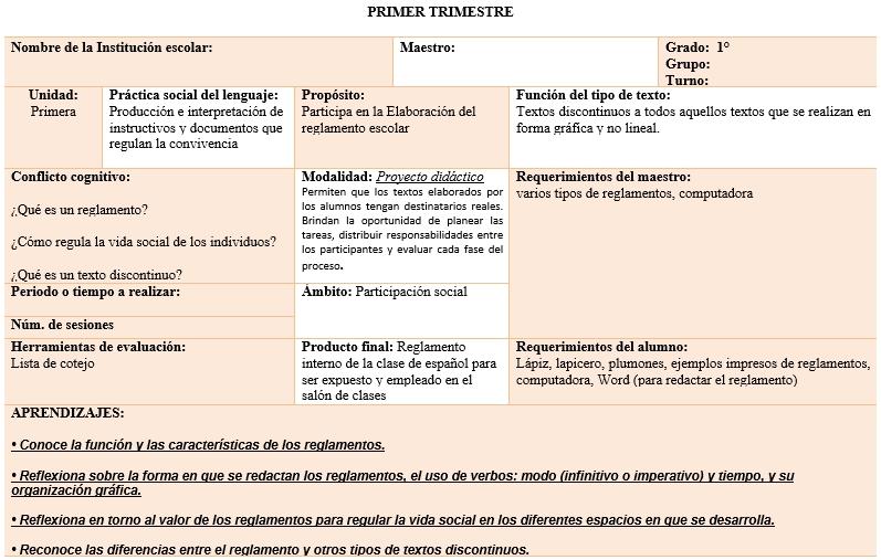 Ejemplo de planeacion de español 2019-2020