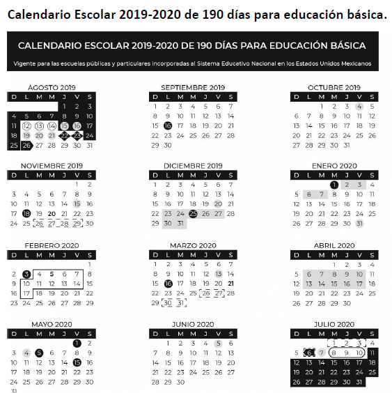 Calendario escolar 2019-2020 educacion basica