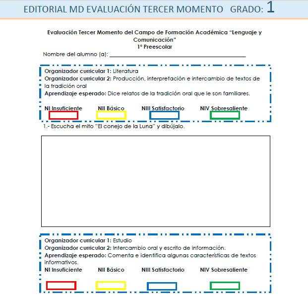 Ejemplo evaluacion tercer momento preescolar