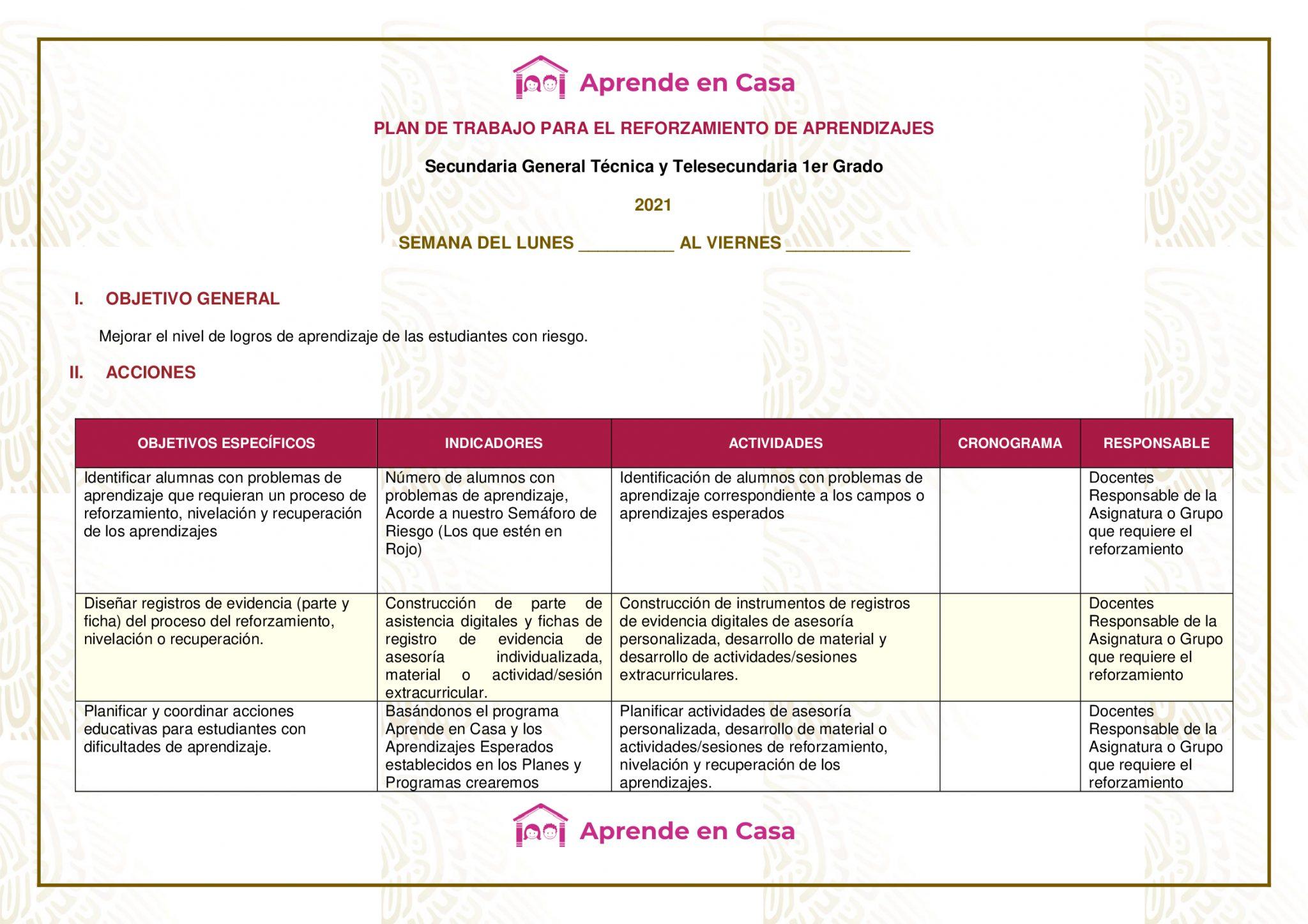 Plan de reforzamiento para Secundaria Generales, Técnicas y Telesecundaria, (1er Grado)