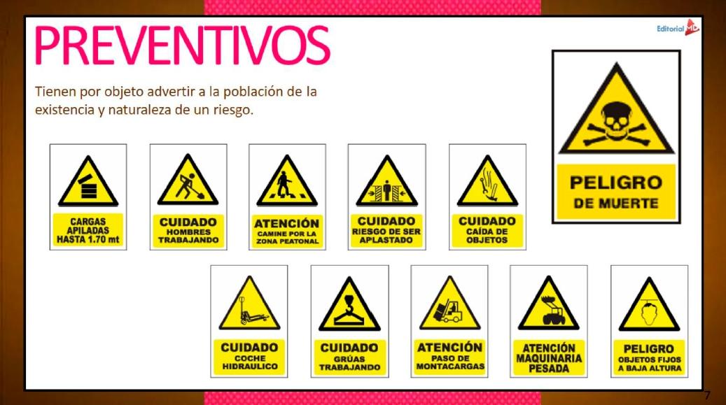 señalamientos preventivos