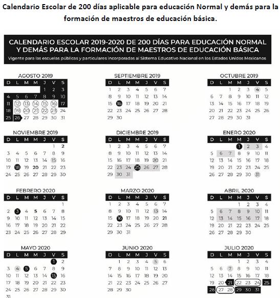 Calendario escolar ciclo 2019-2020 para normales 200 dias