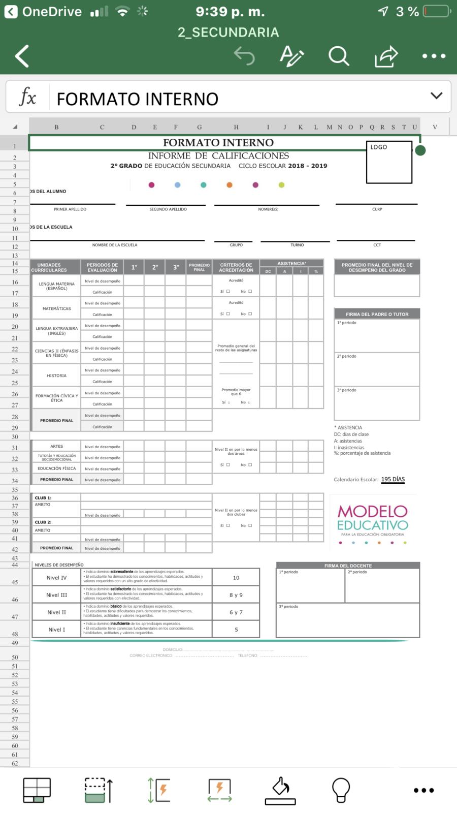 ejemplo de formato interno de reporte de calificaciones