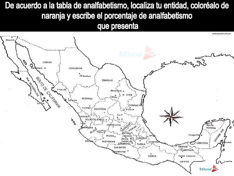 mapa de los estados con analfabetismo en México