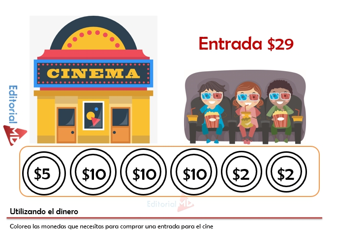 monedas para niños para recortar