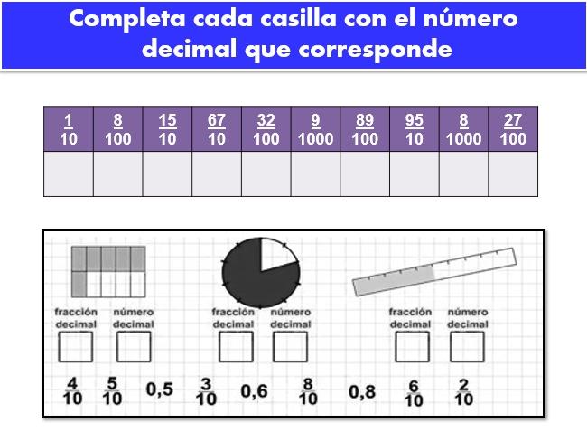 Ejercicios de sumas con punto decimal