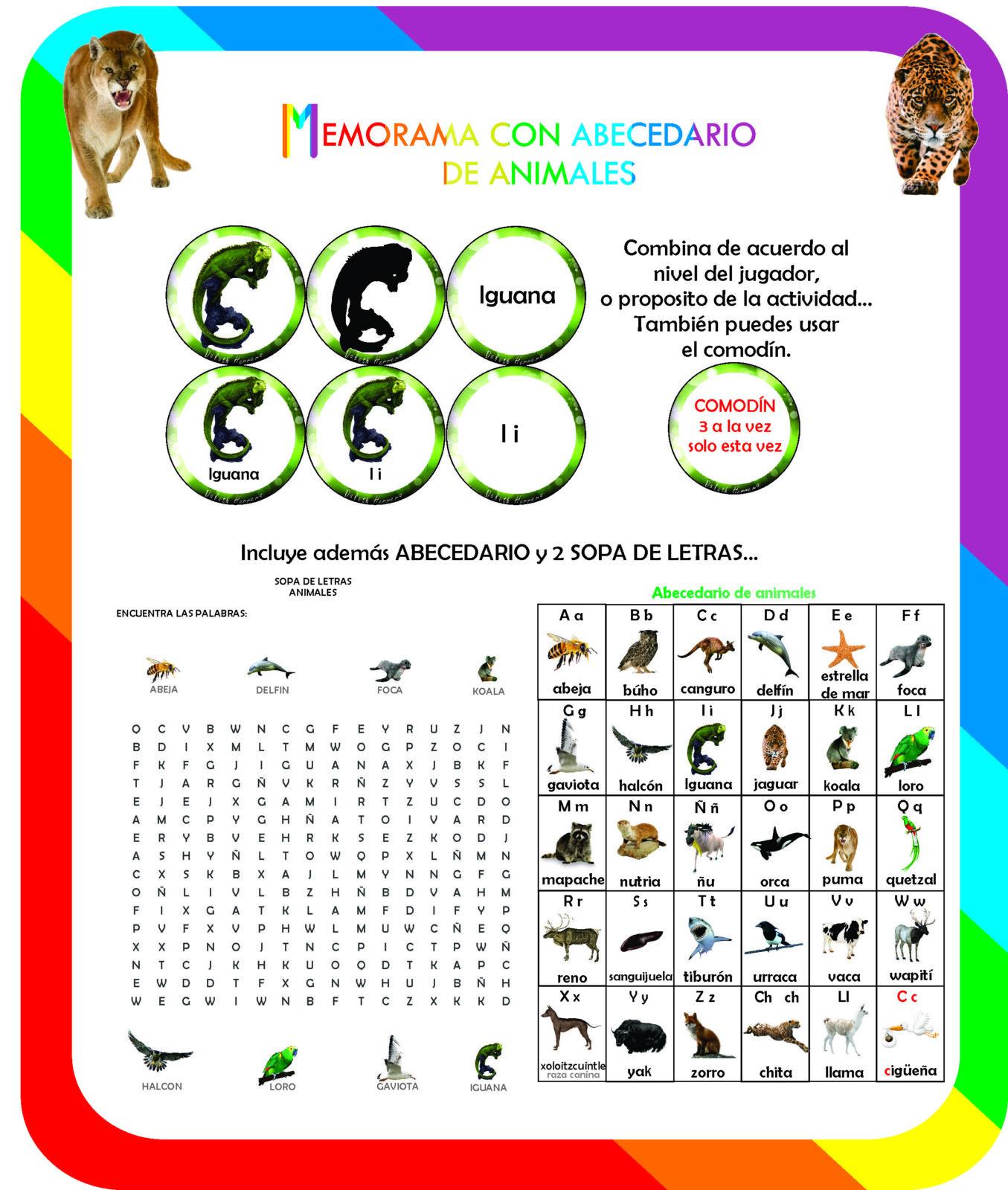 Memorama con abecedario de Animales