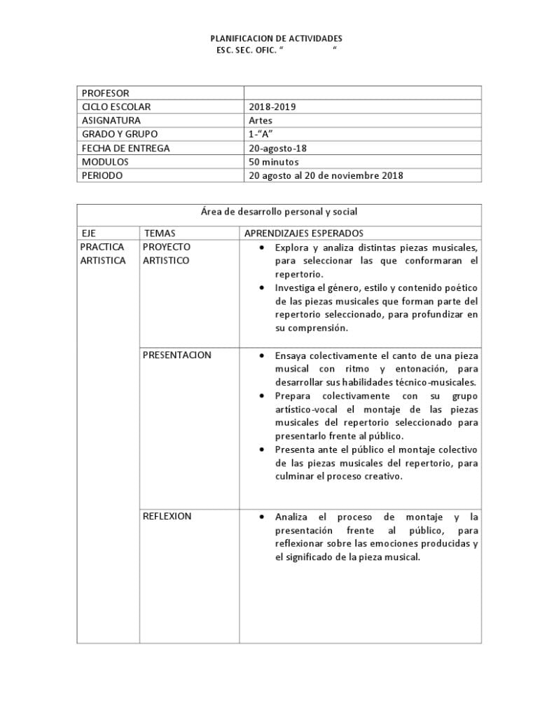 Planeaciones Artes Musica 1 Secundariaprimer trimestre