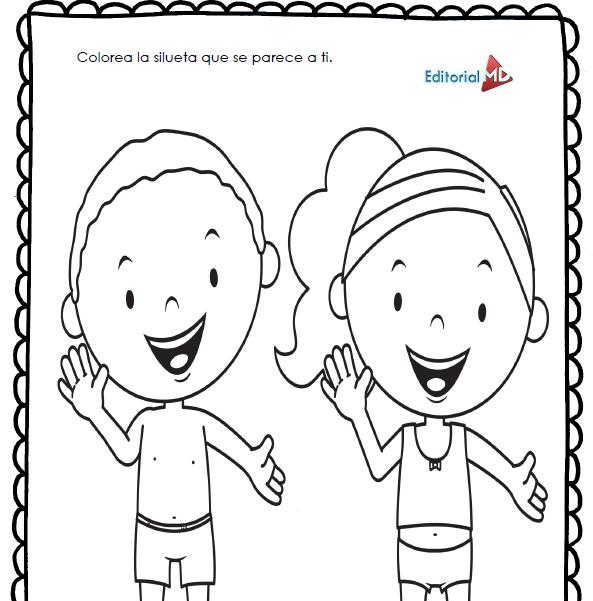 actividades colorea la silueta para preescolar