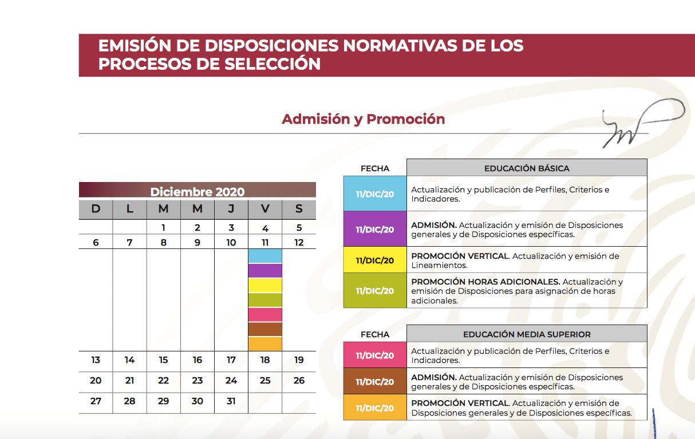 Calendario Admisión y promoción (SEP)