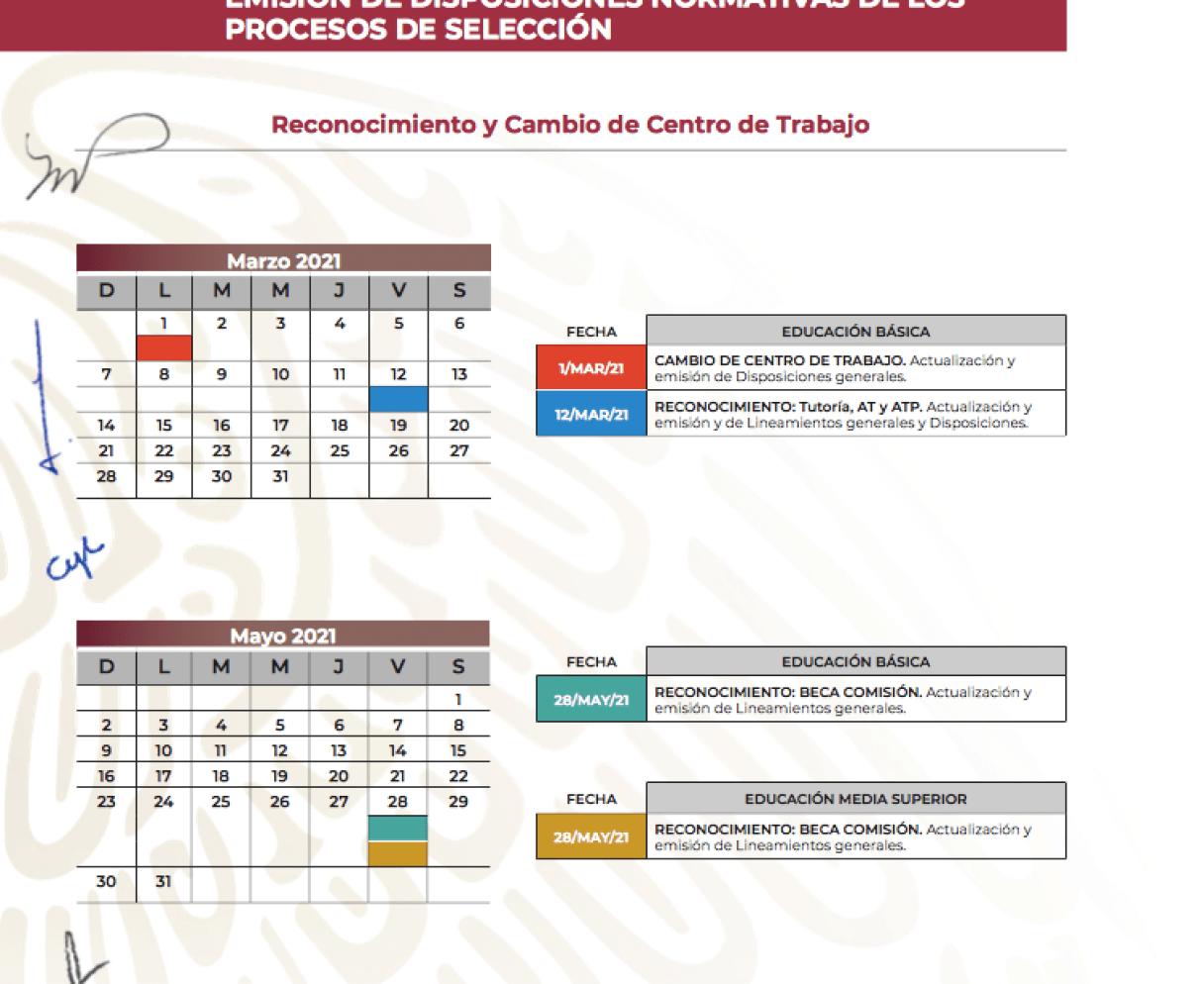 Calendario Reconocimientos y cambio de centro de trabajo (SEP)