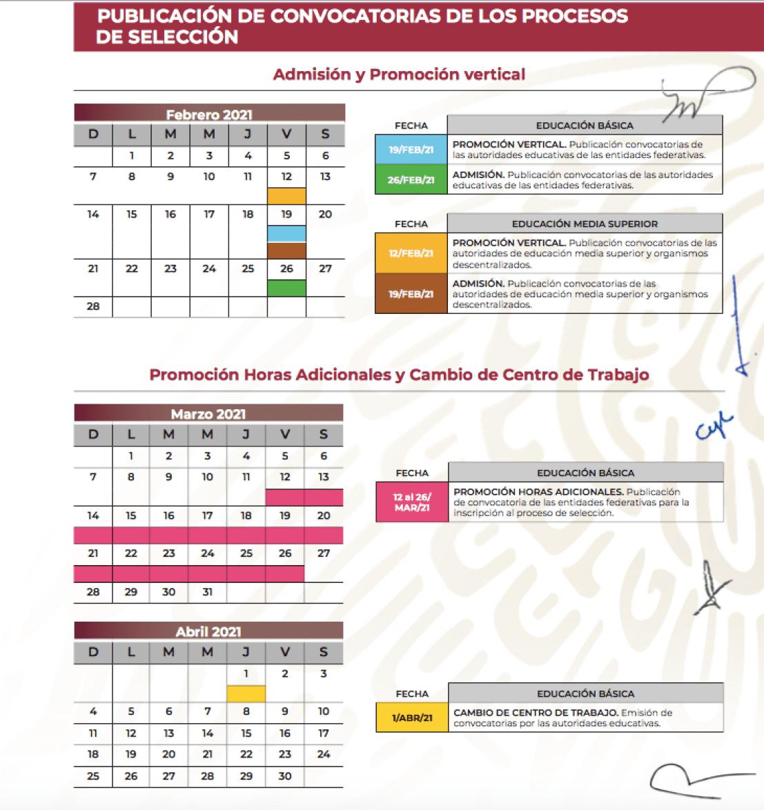 calendario Admisión y promoción vertical y promoción horas adicionales (SEP)