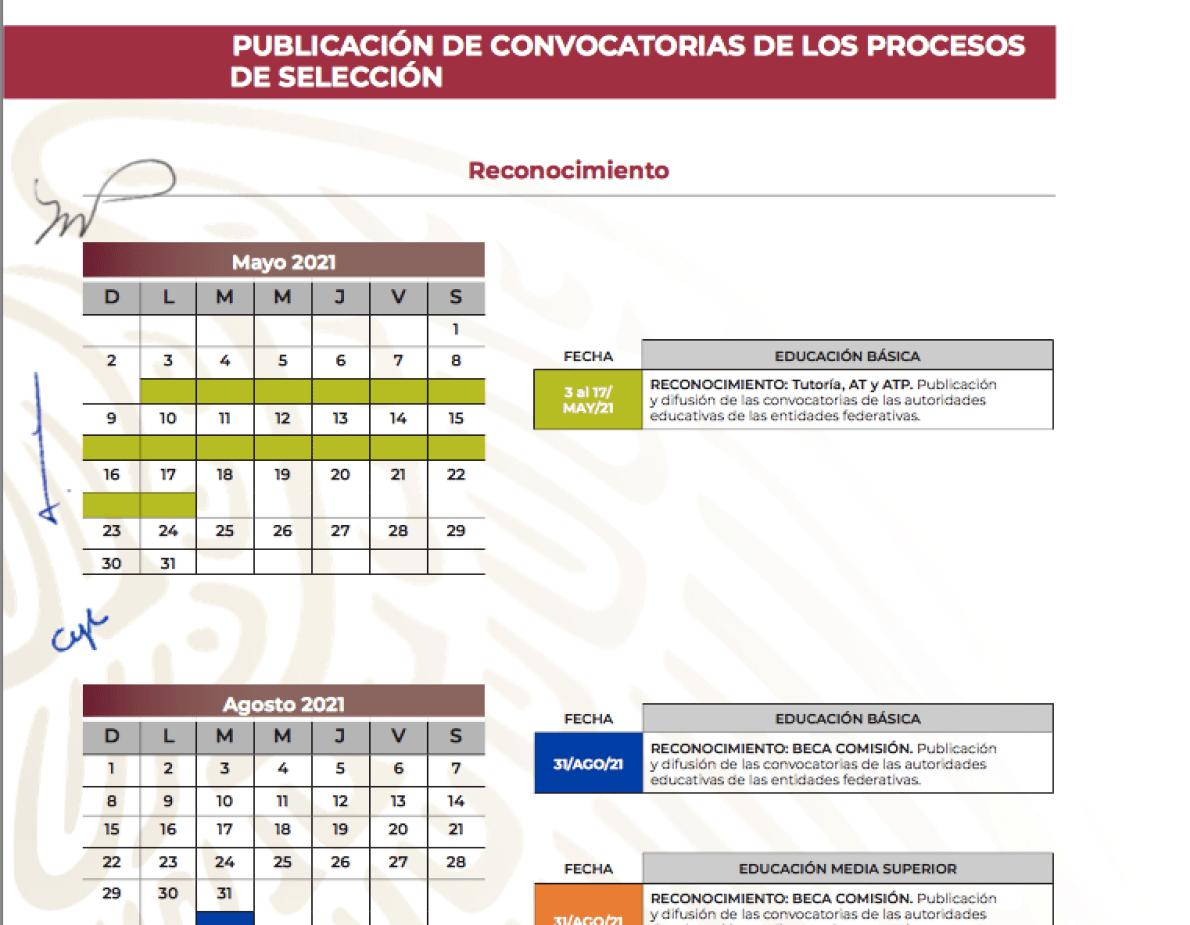 Calendario Reconocimiento (SEP)