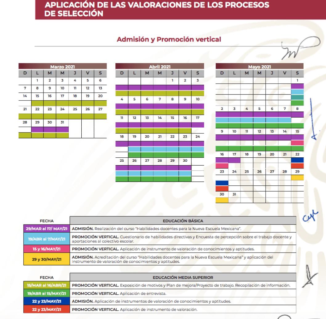 Calendario Admisión y promoción vertical (SEP)
